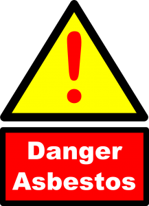 Warning sign for potential asbestos