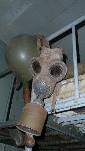 gas mask and helmet